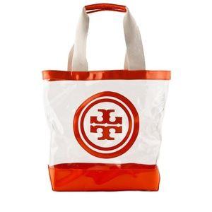 Authentic Tory Burch Orange & Clear Vinyl Tote Bag
